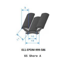 Profil 586 - Joint caoutchouc EPDM - Coulisse floquée