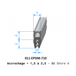 Profil 710 - Joint pince PVC armé + bulbe cellulaire