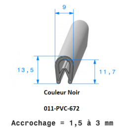 Profil 672 - Joint pince PVC armé NOIR