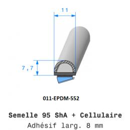 Profil 552 - Joint caoutchouc bi-composant EPDM adhésivé + bourrelet cellulaire